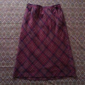 60's Wool Plaid Skirt - 10